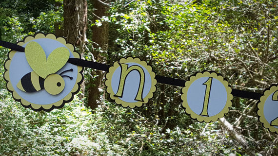 Bumble Bee 1st Year Photo Banner, Photo Display Banner in Black, Yellow, and White, First Birthday Banner