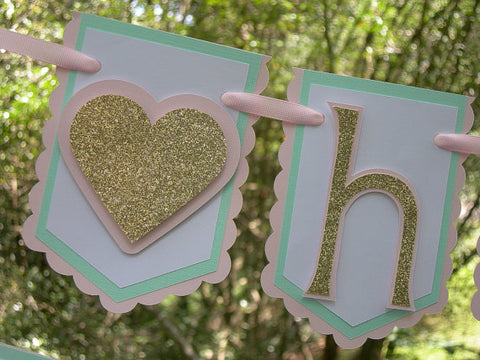 Little Sweetheart, Happy Birthday Banner or Name Banner in Pink, Mint and Gold with Customizable Text