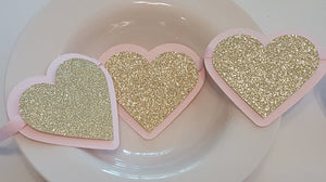 Pink and Gold Heart Garland, Banner, or Photo Prop, Little Sweetheart Theme Garland, Backdrop, Pink and Gold Birthday, Pink and Gold Baby Shower