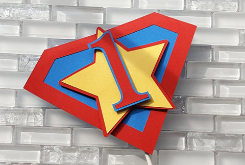 Superhero Cake Topper or Smash Cake Topper in Red, Yellow, and Blue with Customizable Number