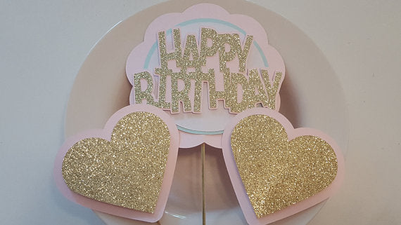 Little Sweetheart Theme, Happy Birthday Centerpiece Set or Table Decor in Pink, Mint and Gold