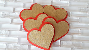 Queen of Hearts Theme, Red and Gold Heart Cupcake Toppers or Food Picks for Birthday or Baby Shower