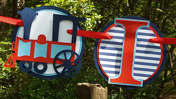 I am 1 Choo Choo Train Birthday Banner or Photo Prop in Red and Navy Blue with Customizable Number