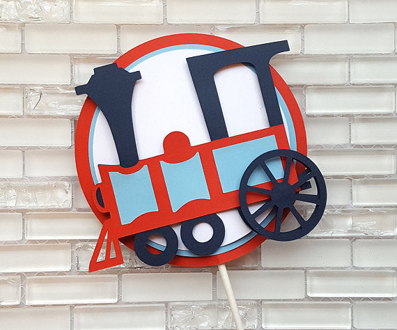Choo Choo Train Cake Topper or Smash Cake Topper in Red and Navy Blue for Birthday or Baby Shower