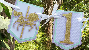 Lavender and Gold Carousel, Highchair Birthday Banner, Pennant Banner, Gold Carousel Banner, First Birthday, Birthday Decoration, READY TO SHIP