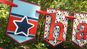 Stars, Stripes, and Polka Dots, Happy Birthday Pennant Banner in Red and Navy for Little Guy or Train Theme Birthday