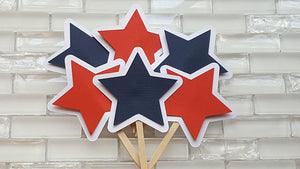 Star Cupcake Toppers or Cupcake Picks in Red, White, and Navy Blue