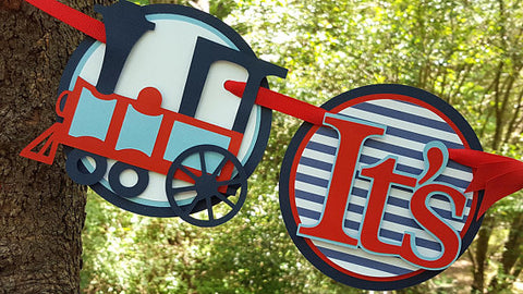 Its A Boy Baby Banner, Choo Choo Train Baby Banner, Red and Navy Blue Train Banner, Train Baby Shower Decor