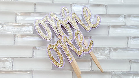 One, 1st Birthday Cupcake Toppers, Cupcake Picks in Lavender and Gold for 1st Birthday, Carousel Theme