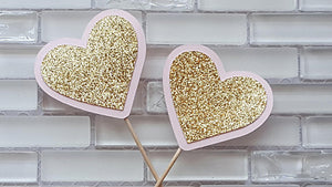 Little Sweetheart Theme, Pink and Gold Heart Cupcake Toppers or Food Picks for Birthday or Baby Shower in Pink and Gold