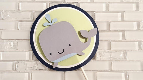 Silly Whale Highchair Cake Topper or Smash Cake Toper in Navy Blue and Green for Birthday or Baby Shower