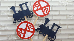Choo Choo Train and Railroad Crossing Cupcake Toppers or Cupcake Picks in Red and Navy Blue
