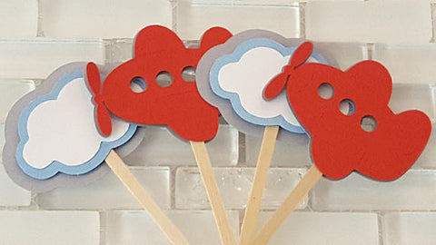 Flying High, Airplane and Clouds Cupcake Toppers, Cupcake Picks in Red, White, and Blue for Birthday or Baby Shower