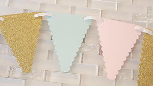 Pink, Mint, and Gold Pennant Bunting Banner, Garland, Backdrop or Photo Prop Banner, Little Sweetheart Theme, Carousel Theme