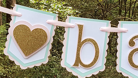 Little Sweetheart,Baby Banner in Pink, Mint and Gold for Baby Shower, Nursery Decor, or Photo Prop