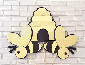 Bumble Bee and Beehive Centerpiece Set or Table Decor in Yellow, Black, and White, for Birthday Party or Baby Shower
