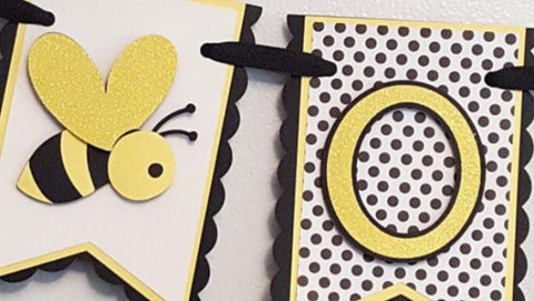 "Bumble Bee, ""One"" or ""Two"" Highchair Birthday Banner in Yellow, Black, and White for Birthday or Photo Prop"