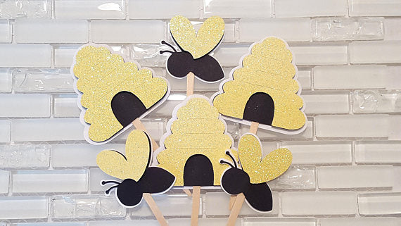 Bumble Bee and Beehive Cupcake Toppers or Cupcake Picks in Yellow, Black, and White, for Birthday Party or Baby Shower