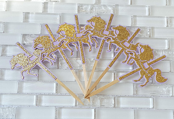 Lavender and Gold Carousel Cupcake Toppers or Food Picks, Lavender, Mint, Gold Carousel, Carousel Party, Handcrafted in 3-5 Business Days