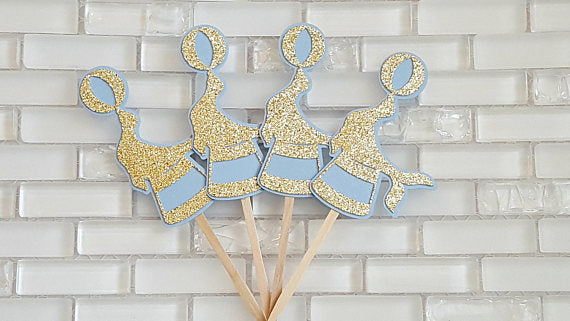 Circus Cupcake Toppers or Food Picks, Baby Blue and Gold Circus Theme, Circus Birthday or Baby Shower, Handcrafted in 3-5 Business Days