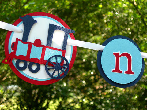Choo Choo Train 1st Year Photo Banner, 1st Birthday Photo Display Banner in Red and Navy Blue