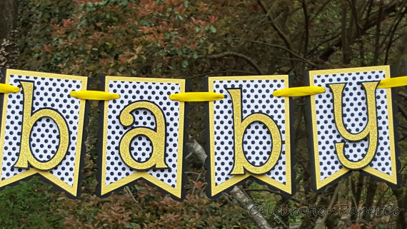 Bumble Bee Baby Banner in Yellow, Black, and White, for Baby Shower or Baby Photo Prop, Customizable Text Banner