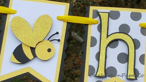 Bumble Bee Birthday Banner in Yellow, Black, and White, for Birthday Party, First Birthday, or Photo Prop, READY TO SHIP