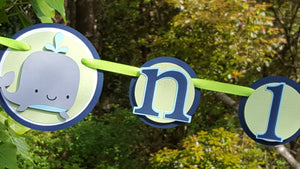 Silly Whale 1st Year Photo Banner, 1st Birthday Photo Display Banner in Navy Blue and Green
