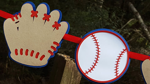 Baseball and Glove Garland in Red and Blue for Birthday, Baby Shower, Party Backdrop or Photo Prop, READY TO SHIP