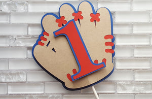 Personalized Number, Baseball Glove Cake Topper in Red and Blue for Birthday or Baby Shower.  Handcrafted in 3-5 Business Days