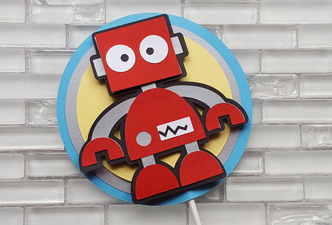Robot Cake Topper in Red, Yellow, and Aqua Blue for Birthday or Baby Shower, Handcrafted in 3-5 business days.