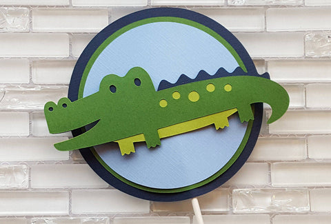 Friendly Alligator Cake Topper in Navy Blue and Green for Birthday or Baby Shower, Handcrafted in 3-5 Business Days