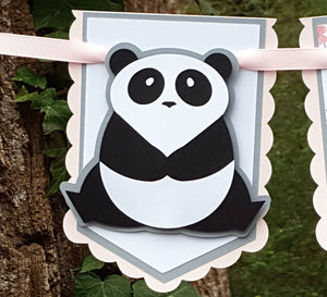 "Panda Bear ""One"" or ""Two"" Pennant Highchair Birthday Banner or Photo Prop in Pink and Gray, Zoo Party, Handcrafted in 3-5 Business Days"
