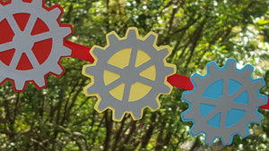 Robot Gears Garland in Red, Yellow, and Aqua Blue for Birthday, Baby Shower, or Photo Prop.  Handcrafted in 3-5 Business Days