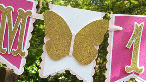 I am 1, Butterfly Pennant Birthday Banner or Photo Prop in Light Pink, Hot Pink and Gold for Butterfly or Garden Party, READY TO SHIP