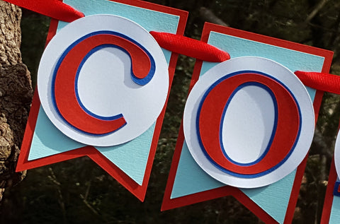 "BaseballTheme ""Concessions"" Pennant Banner in Red and Blue for Birthday Party or Baby Shower, Food Table or Backdrop, READY TO SHIP"