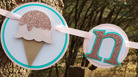 Ice Cream Social, First Year, 1st Birthday Photo Banner or Photo Display in Pink and Aqua Blue. Handcrafted in 3-5 Business Days