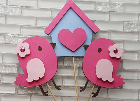 Sweet Bird and Birdhouse Centerpiece Set or Table Decor in Pink and Light Blue for Birthday or Baby Shower. Handcrafted in 3-5 Business Days