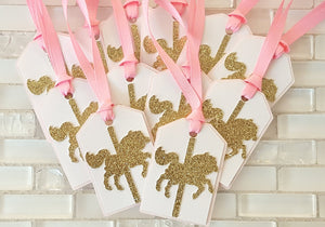 Carousel Horse Hang Tags in Pink, Gold, and White for Birthday or Baby Shower