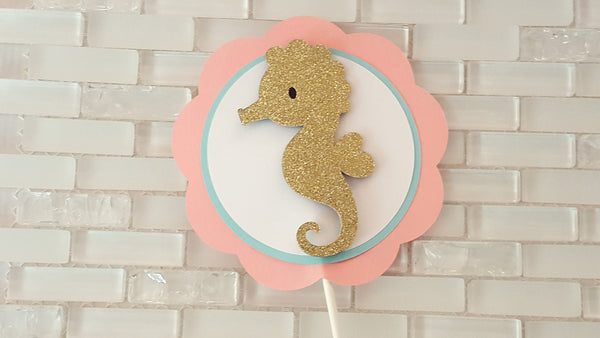 Gold Seahorse Cake Topper or Smash Cake Topper, Peach, Aqua, and Gold, Beach Theme, Seahorse Theme, Handcrafted in 3-5 Business Days