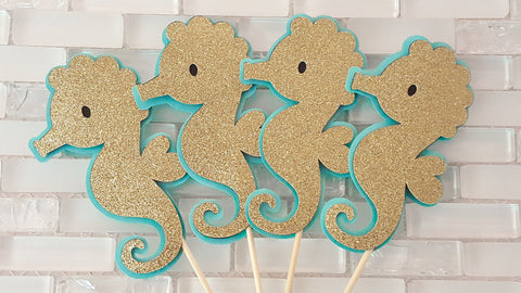Gold Seahorse Centerpiece Set or Table Decor, Customizable Seahorse or Beach Birthday or Baby Shower, Handcrafted in 3-5 Business Days
