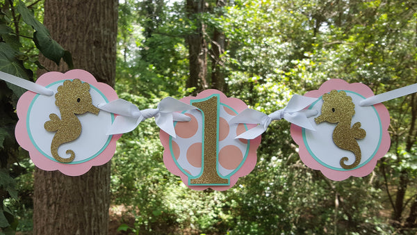 Little Seahorse 1st Birthday Highchair Banner or Photo Prop in Peach, Aqua Blue and Gold for Seahorse or Beach Theme Party. READY TO SHIP