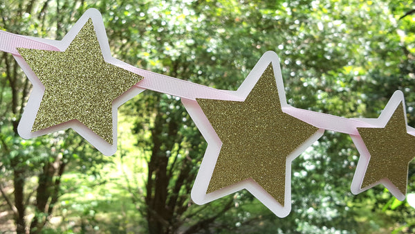 Pink and Gold Stars Garland for Twinkle Twinkle Little Star Theme Birthday Party or Baby Shower. Handcrafted in 3-5 Business Days