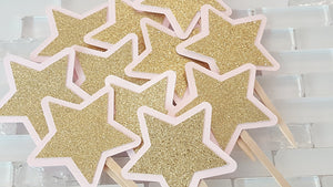 Pink and Gold Star Cupcake Toppers for Birthday or Baby Shower, Twinkle Twinkle Little Star Theme. Handcrafted in 3-5 Business Days