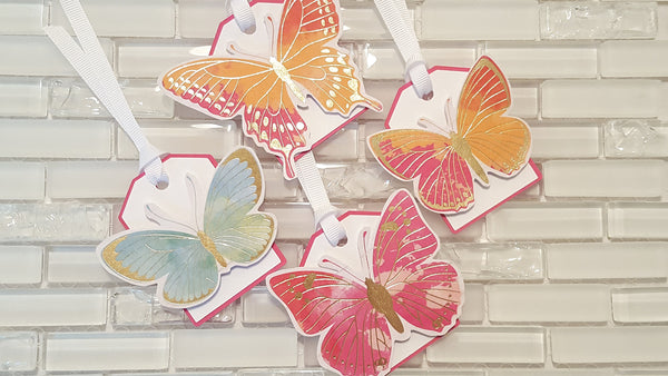 Butterfly Garden Hang Tags or Favor Bag Tags, Rainbow Mix with Gold Foil Accents for Birthday, Baby Shower, or Bridal Shower