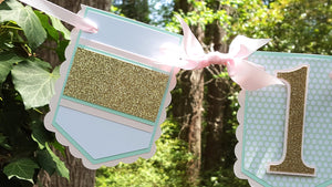 Pink, Mint and Gold Stripe 1st Birthday Highchair Pennant Banner or Photo Prop, OOAK. READY To SHIP