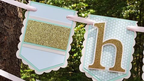 Pink, Mint and Gold Polka Dot Happy Birthday Pennant Banner for Photo Prop, Birthday Party, or 1st Birthday. READY TO SHIP