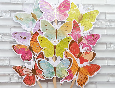 Rainbow and Gold Mix Butterfly Cupcake Toppers or Food Picks, Butterfly Garden Birthday or Baby Shower, Handcrafted in 3-5 Business Days