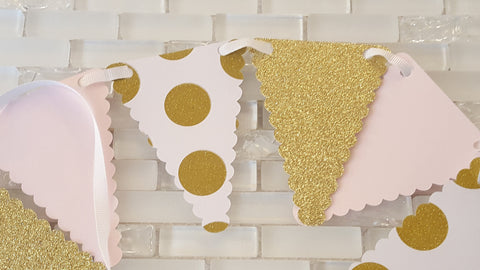 Pink and Gold, Pennant Bunting, Garland, Backdrop or Photo Prop for Birthday, Baby or Bridal Shower. Handcrafted in 3-5 Business Days