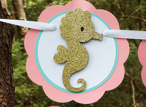 Little Seahorse Happy Birthday Banner in Peachy Pink, Aqua Blue and Gold for Seahorse, Sea Creature, or Beach Theme Birthday. READY TO SHIP